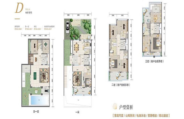 国瑞红塘湾 双拼别墅D户型 7室3厅8卫 252.7㎡