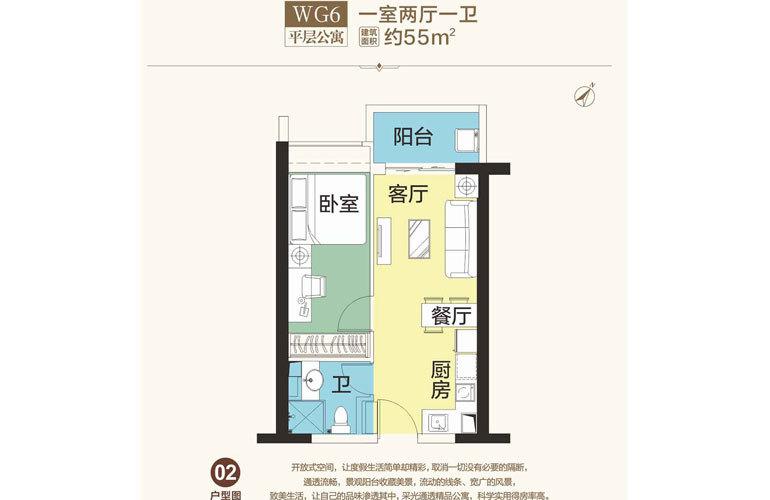 恒大海花岛 WG6 1室2厅1卫 建面55㎡