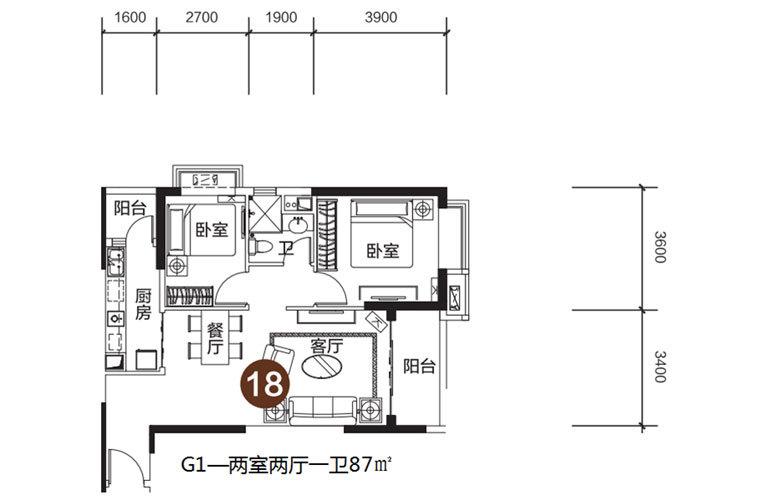 恒大海花岛 G1户型 2室2厅1卫 建面87㎡