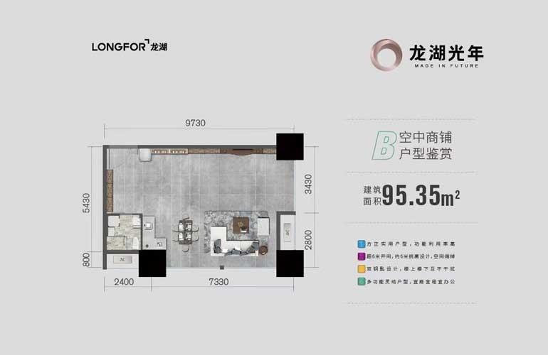 龙湖光年 B户型 一房一厅一卫 建筑面积95.35㎡