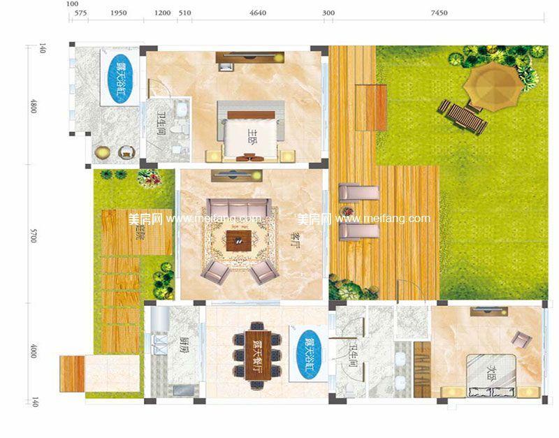 合景月亮湾 B型别墅 2室2厅2卫1厨 建面89㎡