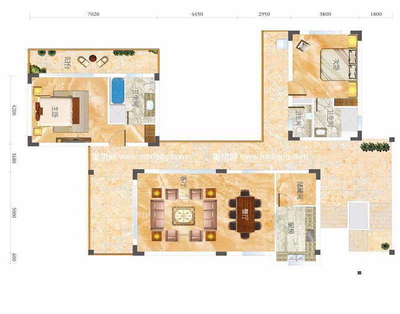合景月亮湾 E型别墅 2室2厅2卫1厨 建面152㎡