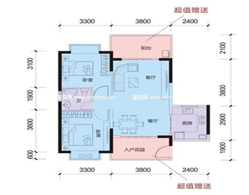 山海和湾 二期多层G户型 2室2厅1卫1厨 建面81㎡