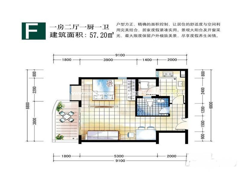 嘉宝花园二期 户型F1室--厅1卫1厨建面57.20㎡